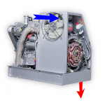 Cellpac with panel removed shows how cooling fan forces air through the enclosure, then through the engine radiator tucked away (not shown) inside the frame rails.