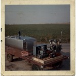 A diesel-driven bulk milk cooler on display in 1963. Diesel power continues to be important to the local Amish community.